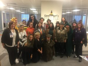 Kenilworth Media staff participated in the company's first-ever Halloween lunch party featuring a costume contest and trick-or-treating amidst the backdrop of a festively decorated office.